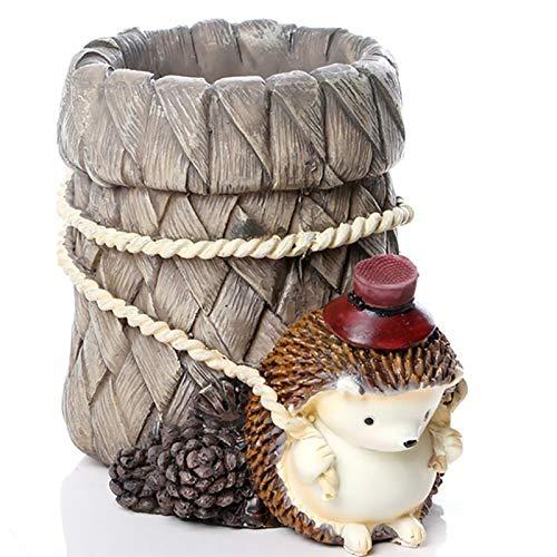 Hedgehog Pen Holder Resin Desk Organizer Lápiz Pot Pottage Taza Contenedor Inicio Oficina Decoración Decoración para Regalos de Cumpleaños,Wear a hat