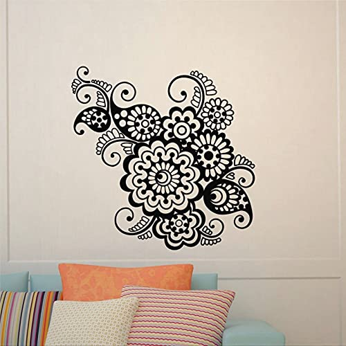 Calcomanía de pared con patrón indio, yoga, flor, indie, mandala para pared, dormitorio, estudio, yoga, etiqueta extraíble, decoración de pared mural lh262