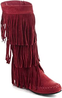 Westwood Footwear Corp. Refresh Women's Jolin-02 Fringe Moccasin Flat Heel Zipper Under Knee High Boots (Wine, 10)