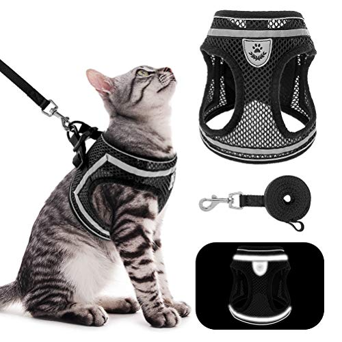 cat leashes PUPTECK Breathable Cat Harness and Leash Set - Escape Proof Cat Vest Harness, Reflective Adjustable Soft Mesh Kitty Puppy Harness, Easy Control for Outdoor Walking
