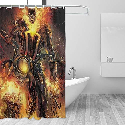 Cortina de ducha Ghost Rider impermeable decoración del baño con 12 ganchos lavable poliéster 60x72 pulgadas