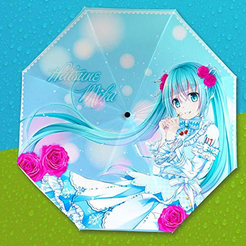 GoodWell Reise-Regenschirm Anime Regenfest Winddichter Sonnenschutz Anti-UV Silberleim Regenschirm Verstärkter Dreifach Faltbarer Regenschirm Für Unisex Reisen Büro (Hatsune)