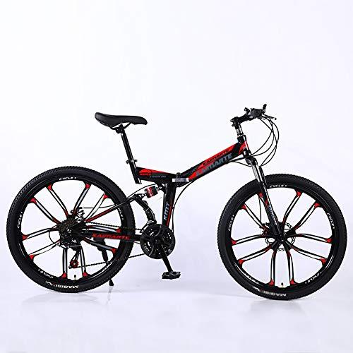 Mountain Bikes,Overdrive Aluminum Frame Trail Mountain Bike,Men Women Bicycle,26 Inch Big Wheels Hardtail Mountain Bike Black and Red 26',21-Speed