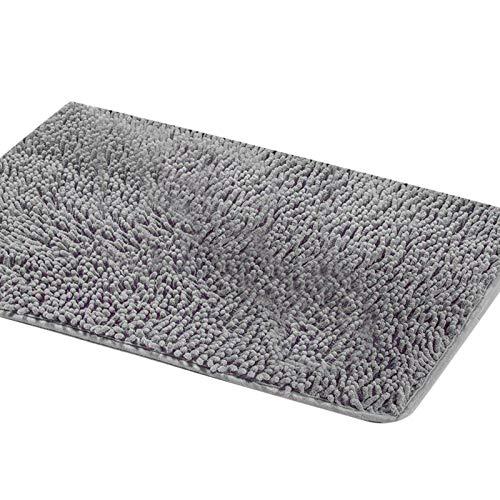 SAMZO Alfombra de baño Alfombra de microfibra suave para baño, alfombra de peluche, color gris
