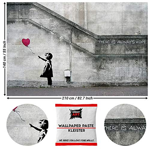 GREAT ART Fototaoete Banksy Balloon Girl 210 x 140 cm – There is always hopw Wallpaper Street Art London Straßenkunst Stencil Wandbild Wandtapete – 5 Teile Tapete inklusive Kleister