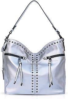 NICOLE & DORIS Damen Umhängetaschen Schultertasche stilvolle Handtasche große Hobo Tasche für Frauen Tragetasche Silber