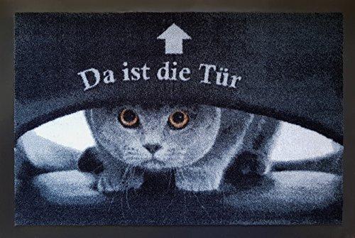 Trendstern Trendprodukteshop Fußmatte Fußabtreter Fußabstreifer Schmutzmatte Motiv Design Eule Cat Katze Hund Dog OWL (Black-Sweet)