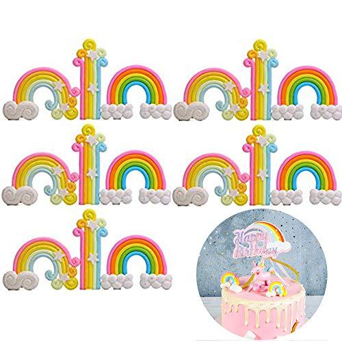 Xinlie Regenboog-ster taartdecoratie taart decoraties eetbare staandup wafel taart topper sticks wolken en sterren regenboog taart topper voor verjaardag bruiloft baby shower party (15 stuks)
