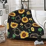 wodealmug Women's Sunflower Throw Blankets Plush Blanket Soft Sherpa Fleece Blanket Adults for Crib Couch Chair Living Room Travel (50'x60',Sunflower)