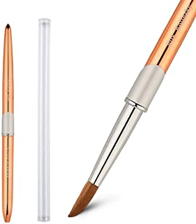 1PC KEMEISI Rose gold 100% Kolinsky Sable hair Brushes Acrylic Nail Brush Professional UV GEL Nail Art Tool Round Shape for Manicure Powder Pedicure metal handle with lid #8,#10,#12,#14 (#08)