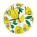 Home Decor Watercolor Lemon Fruit Summer Round Wall Clock Acrylic Silent Non Ticking Decorative Clocks