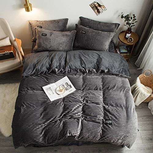 zdoujinsyuh Winterwarmes Einzel-Doppelbett mit Vier Sätzen von Daunendecken und Kissenbezügen aus Flanell-Samt-Fleece, geeignet für das Schlafzimmer zu Hause Dress up-Grey_220X240cm