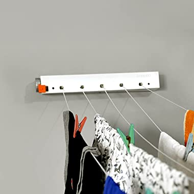 Perilla Czech ACE Pull and Hang Retractable Cloth Drying Hanger Rack   Expandable Up to 20 Meters   Wall Mounted   User-Frien