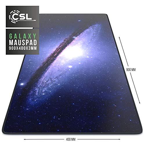 CSL - XXL Mauspad Gaming 900x400 mm - XXL Mousepad groß mit Motiv - Tischunterlage Large Size - verbessert Präzision und Geschwindigkeit - auch für Roccat Razer Logitech Maus und Tastatur - Galaxy