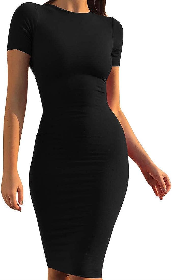 Mokoru Women's Casual Basic Superlatite Pencil Sleeve Sexy Milwaukee Mall Bodyco Long Dress