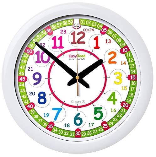 EasyRead Time Teacher ERTT-DIG Regenbogenfarbe Kinder-Wanduhr zum Erlernen der Uhrzeit