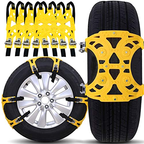 Buyplus Snow Tire Chains for Cars - Emergency Anti Skid Straps, Car Snow Chain for Trucks Minivan Pickup SUV/ATV/UTV Winter Universal Tire Blocks
