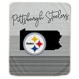 Pegasus Sports NFL Ultra Fleece State Stripe Blanket- Pittsburgh Steelers, Team Color, 60x70