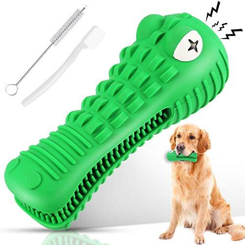 Giocattoli da Masticare per Cani, ossa di cane resistenti per masticatori, Giochi Squeak Interattivi con 2 spazzolini per Medio Grande Cani