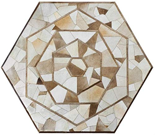 PHH moderno tappeto camera da letto per la casa soggiorno tappeto divano tavolino tappetino esagonale mosaico tappeto camera dei bambini regali casa (colore marrone, dimensioni: 140 cm)