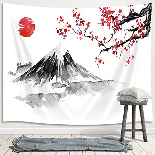 "Japanese Decor Tapestry, Asian Anime Mount Fuji Red Sun Tapestry Wall Hanging for Bedroom, Japanese Art Cherry Blossom Decorations Tapestry Beach Blanket College Dorm (71""W X 60""H)"