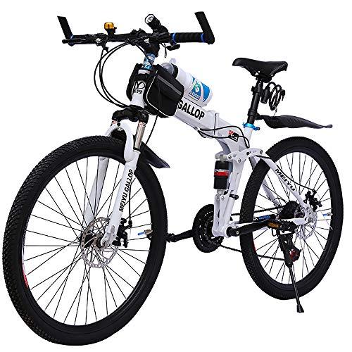 LXZH 24/26 Zoll Faltbares Mountainbike, Soft Tail Vollgefedert Fahrrad 21 Gang-Schaltung Doppelt Scheibenbremse Rad MTB Kinderfahrrad,Jungen-Mädchen-Fahrrad & Herren-Damen-Fahrrad,White Spokes,26in