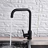 Grifo de la cocina negro mate grifo de la cocina agua caliente y fría cubierta montada 360 giratorio grifo de la cocina caño de una mano latón grifos