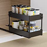 Pull Out Cabinet Organizer, Avaspot Two Tier Under Sink Pantry Shelves Sliding Drawer Storage for Cabinet Organization 8 1/2'W x 15 3/4'D x 11'H