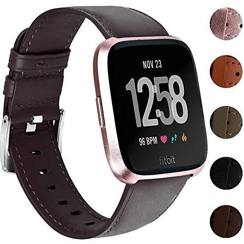 Nigaee Uhrenarmband für Fitbit Versa Armband/Fitbit Versa 2 Armband Leder kompatibel mit Fitbit...