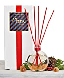 Manu Home Holiday Reed Diffuser ~ Includes Beautiful Reusable Decorative Bottle, Our Exclusive Holiday Wreath Scent~ Made in USA