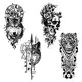 Tatuaje temporal de medio brazo, 4 hojas de pegatinas de transferencia de tatuajes temporales grandes, manga de tatuaje negro, tatuajes de brazo de pierna falsa para hombres, mujeres y adultos
