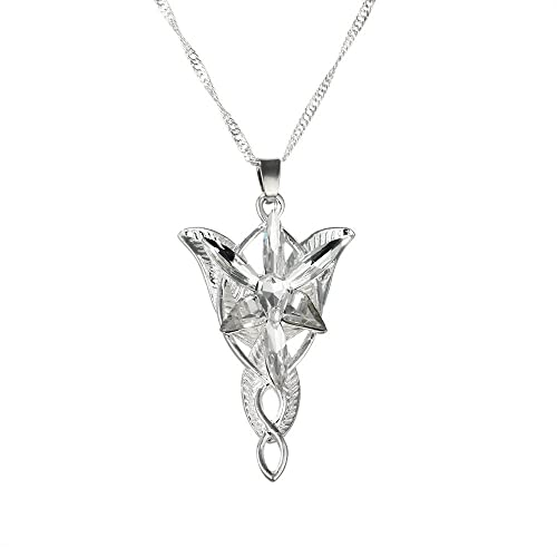Yellow Chimes Arwen's Evenstar Necklace Lord of The Rings Silver Pendant for Girls and Women