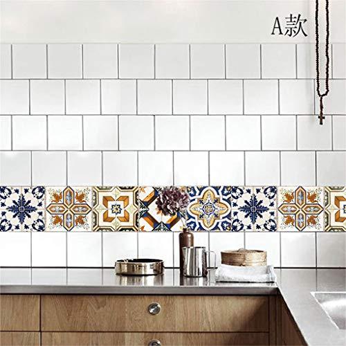 Hffan 1 Stück 25,3 x 3,7 cm Fliesenaufkleber blau Silber türkis Design 1 I 3D Mosaik Küche Bad Fliesendekor Aufkleber Wandaufkleber Wandsticker