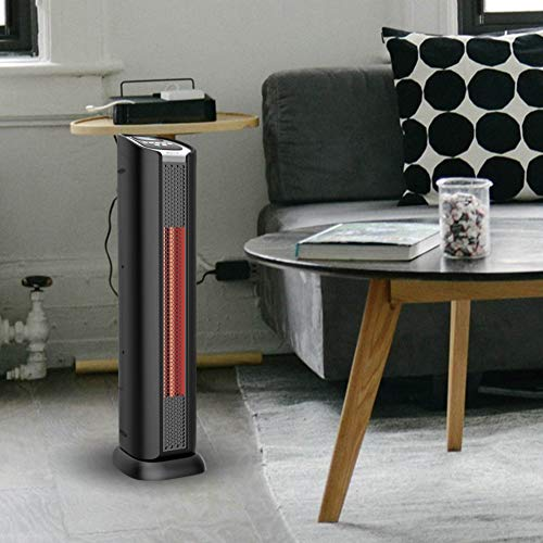 Lifesmart 2 Element Quartz Infrared 24-Inch Electric Portable Tower Indoor Room Space Heater and Fan, Black