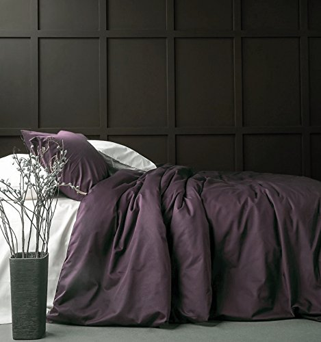Solid Color Egyptian Cotton Duvet Cover Luxury Bedding Set High Thread Count Long Staple Sateen Weave Silky Soft Breathable Pima Quality Bed Linen (Queen, Grape Plum)