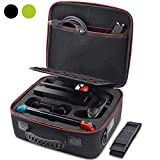 VORI Carrying Case for Nintendo Switch, Travel Hard Storage Protective Large Capacity Case with Shoulder Strap for Nintendo Switch Console & Accessories, Pro Controller, Poke Ball Plus Black