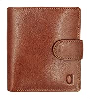 Alfa Leather Co. Engraved Logo Buttoned Bifold Wallet for Men - Tan