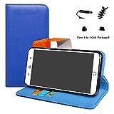 LFDZ WileyFox Swift 2 Hülle, [Standfunktion] [Kartenfächern] PU-Leder Schutzhülle Brieftasche Handyhülle für WileyFox Swift 2 / Swift 2 Plus Smartphone (mit 4in1 Geschenk Verpackt),Deep Blue