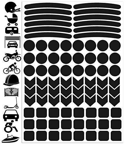 Biomar Labs® Reflektoren Reflektierende Aufkleber Reflexfolie Schwarz Stickers Set (84 Stück) Selbstklebende Reflektierende Reflektor Sicherheitsaufkleber Felgenrandaufkleber Felgenstreifen D 51
