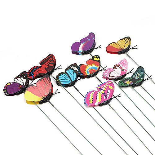 OWIKAR Flower Arrangement Butterfly Floral Picks Set of 10Pcs Colorful Glitter Artificial Butterflies On Sticks DIY Vase Lawn Flower Pot Decoration Handicraft Random Color