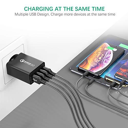 IWAVION Cargador USB,Quick Charge 3.0 30w Cargador USB de Pared con 4 Puertos de Cargador Móvil Rápido de Pared para iPhone Xr/Xs/X/8Plus/ 8, iPad, Samsung Galaxy S10/S9/S8+/Note 8/Huawei/HTC/LG Negro
