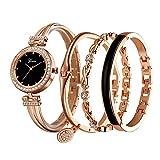 Clastyle Set Orologio e Bracciale Cristallo da Donna Scintillante Orologio da Polso e Set 3 Braccialetto Acciaio Oro Rosa