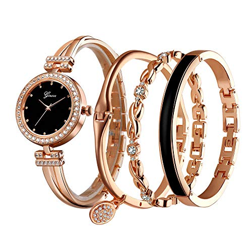 Clastyle Damenuhren und 3 Armreif Uhrenset Glänzender Roségold Armbanduhr mit Edelstahl Armband