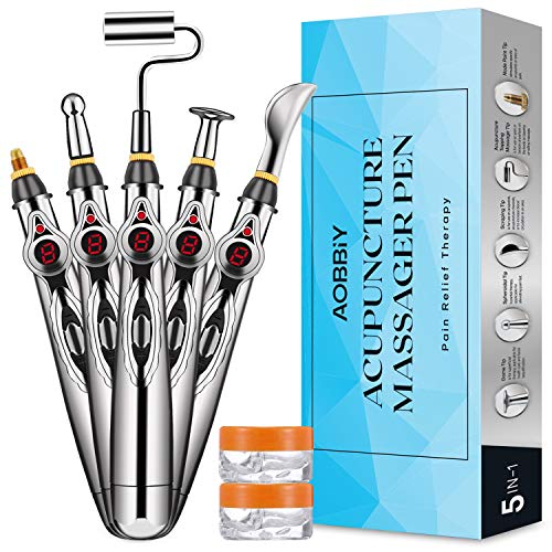 AOBBIY Acupuncture Pen, 5 Massage Head Function with 2 Contact Gel, Electronic Acupuncture Machine, for Pain Relief, Pain Relief Massage Tool, No Battery Included.