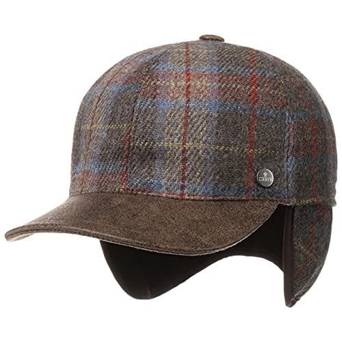 Lierys Shetland Wool Cap mit Ohrenklappen Damen/Herren - Wollcap Made in Italy - Wintercap aus Schurwolle - Kappe mit Schirm aus Leder - Basecap Herbst/Winter grau-blau 58 cm