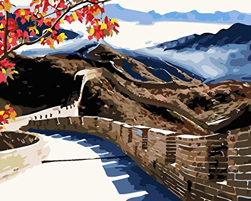 Regalo De Pintura Al Aceite De Bricolaje Digital Para Niños Y Adultos, Para Pintar Por Número De Kits Home Decor - Gran Muralla China Arquitectura Antigua 40X50Cm
