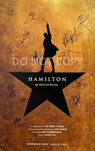 HAMILTON Broadway play cast reprint signed 12x18 poster photo Lin Manuel Miranda RP