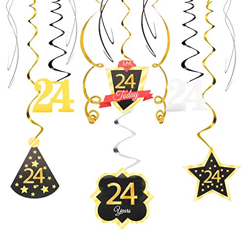 24 Birthday Decoration Happy 24th Birthday Party Silver Black Gold Foil Hanging Swirl Streamers I'm Twenty-four Years Old Today Birthday Hat Gold Star Ornament Party Present Supplies