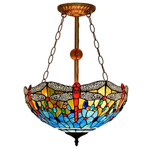 HIGHKAS Lámpara Techo Tiffany, Vidrio Arte Hecho a Mano Azul Esmalte Iluminación para el hogar 3 Luces con Pantalla Anti-araña para Sala Estar Dormitorio Iluminación Decorativa 16 Pulgadas