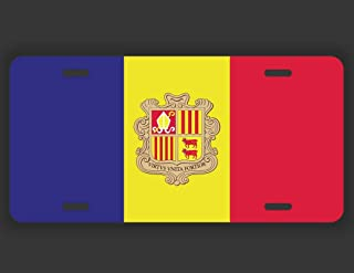 JMM Industries Andorra Flag Vanity Novelty License Plate Tag Metal Car Truck 12-Inches by 6-Inches UV Resistant Print UVP137